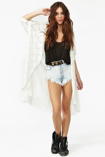 cardigan blouse shorts
