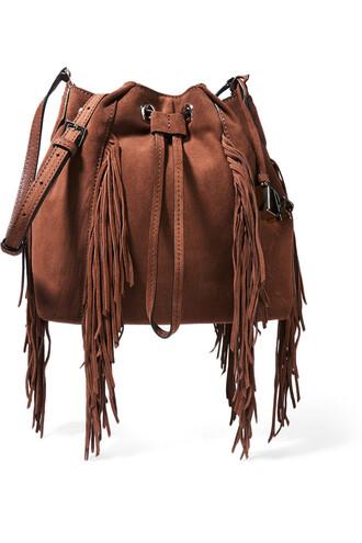 boho bag bucket bag suede light brown