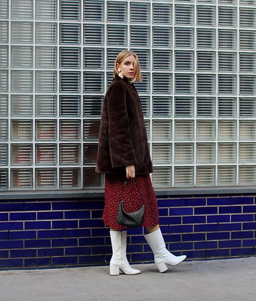 shoes tumblr white boots jacket fur jacket faux fur jacket brown jacket bag midi dress red dress