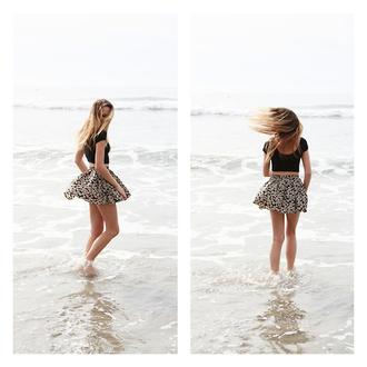 skirt floral floral skirt patterm skirt skater skirt cute beach summer floral skater skirt summer outfits shirt