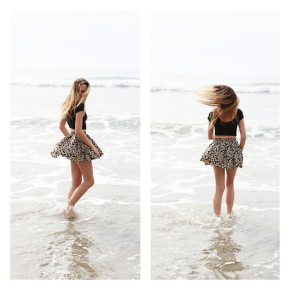 skirt floral floral skirt summer skater skirt patterm skirt cute beach floral skater skirt summer outfits