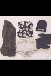 hat,sweater,shirt,shorts,shoes,jacket,black mini boots,blouse,sunflower,crop tops,daisy,black,cute,edgy,tank top,daysies,beanie,zipped top,combat boots,zip,High waisted shorts,army green jacket,green army,flowers,top,necklace,boots,white,green,denim,cardigan,sunflower shirt,coat,olive green,olive green bomber jacket