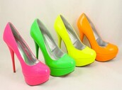 shoes,pink,bright,funny,rounded closed toe,pumps,orange,green,yellow,high heels,neon,unique shoes