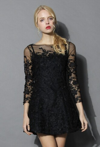 dress frozen floral mesh dress in black chicwish black mesh dress floral