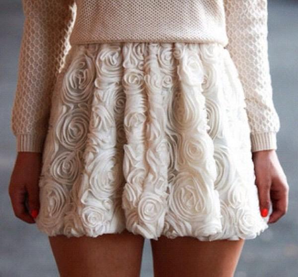 skirt flowers white cream creamy sweet nice