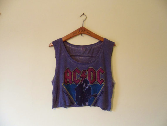 Vintage cropped ac/dc tshirt grey by themagicclotheshorse on etsy