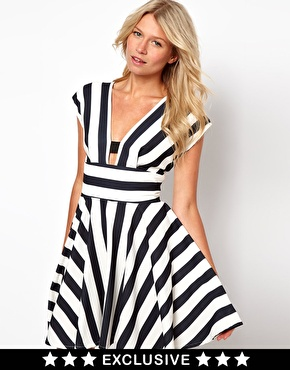 Love | Love Stripe Dress With Cut Out Back at ASOS
