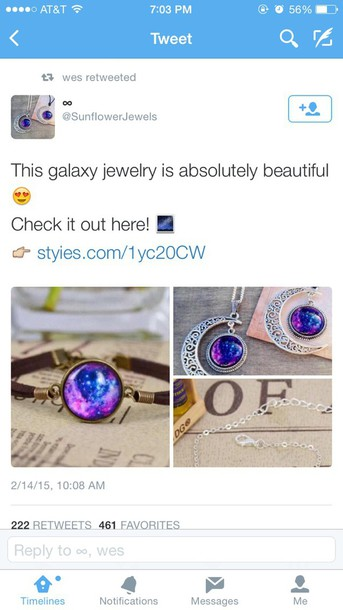 jewels necklace galaxy print moon
