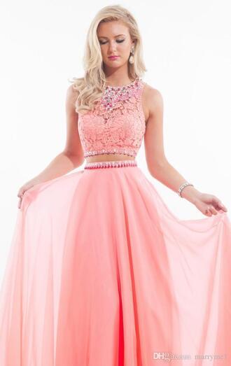 dress pink lace 2 piece prom dress pink dress