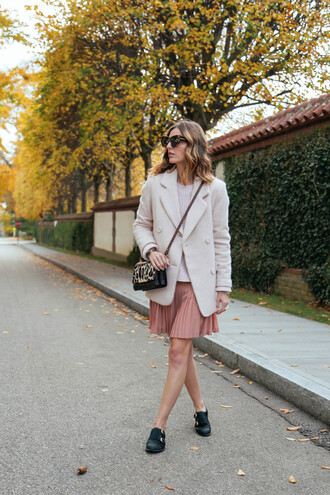 prosecco and plaid coat pleated skirt animal print pink animal print bag mini bag