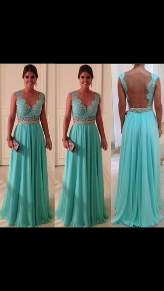 dress prom dress tiffany blue lace dress