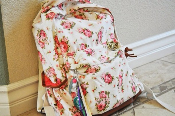 bag floral backpack school bag flowers roses floral backpack sweet gilt girl  girly vintage floral pink 064dc93297b96