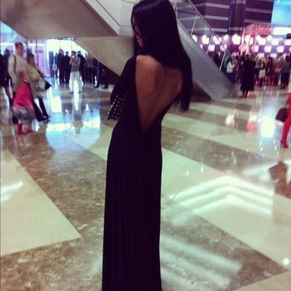 dress open back maxi dress long long dress black little black dress long black dress prom dress new year dress