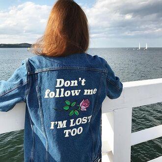 jacket yeah bunny denim rose summer sun 36683 denim jacket embroidered