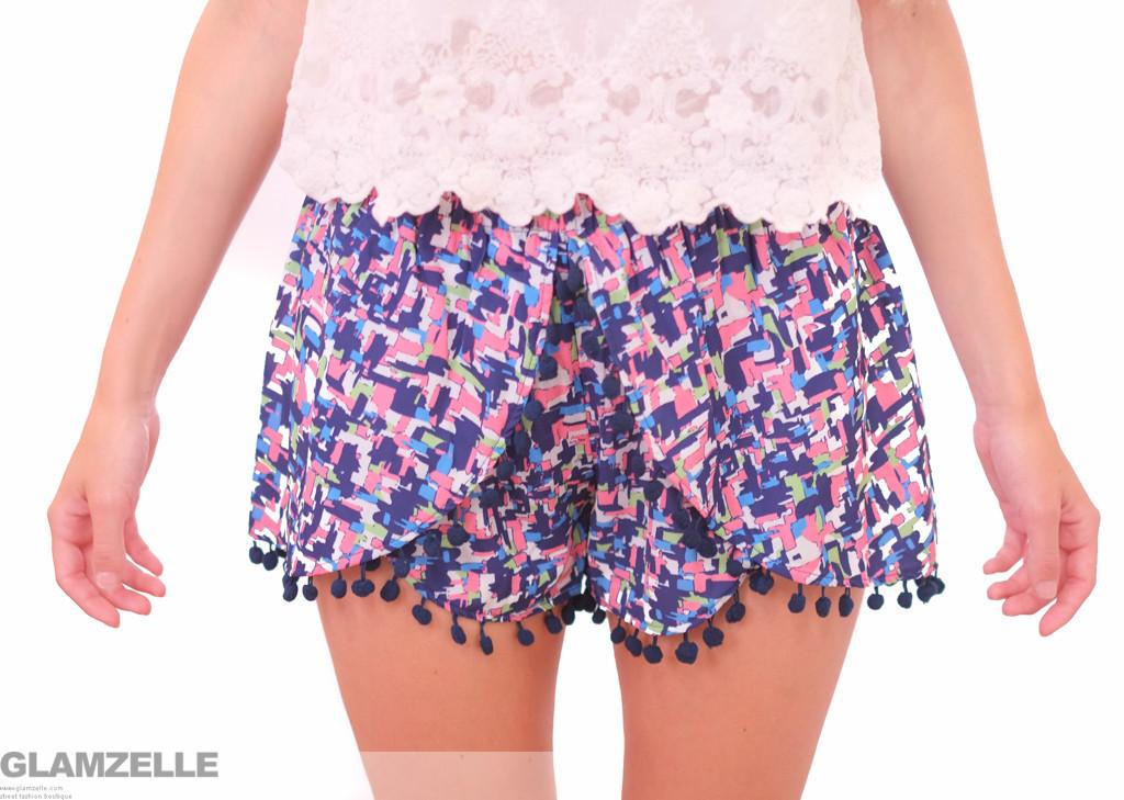 """""""pink tetris"""" navy pom pom shorts – glamzelle"""