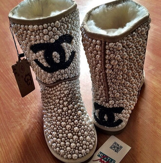 shoes ugg boots chanel boots pearl uggs pearl fashion cute cute boots