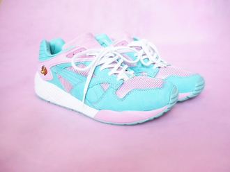 shoes puma shoees sneakers pink baby blue baby pink blue valentines day trainers puma