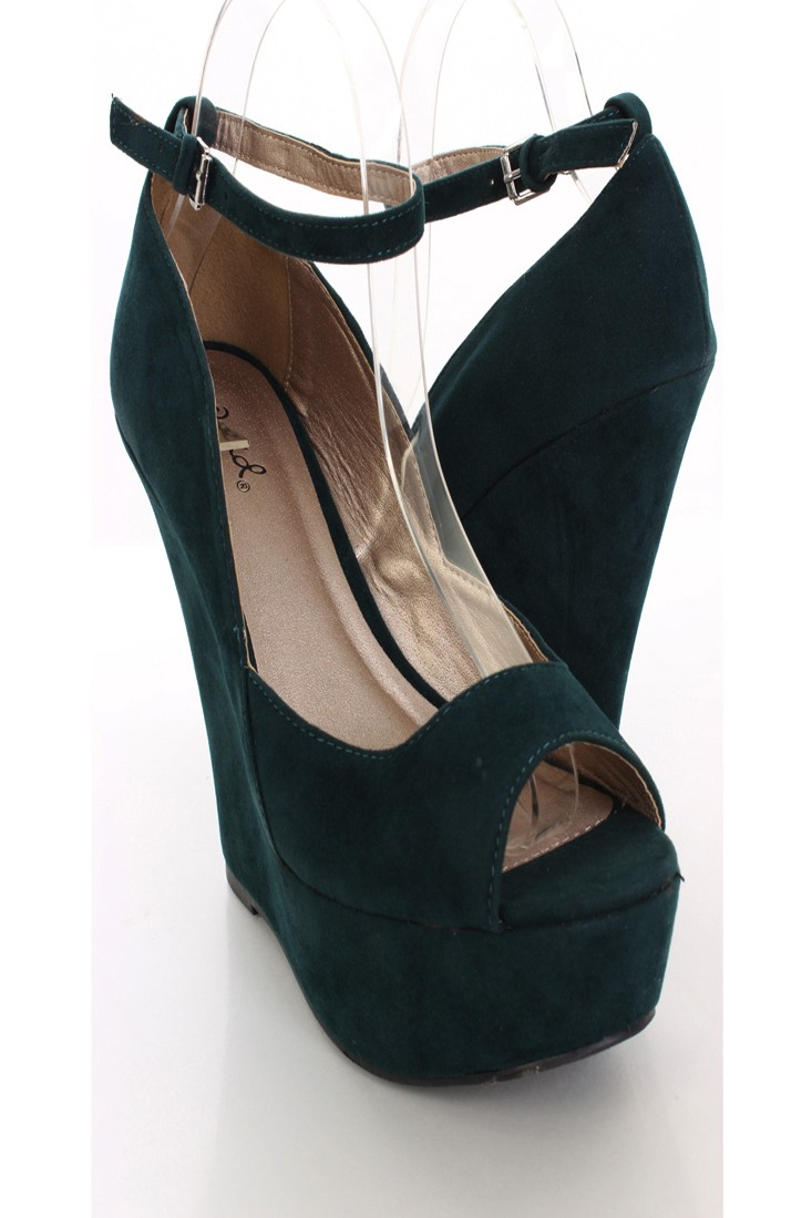 e63165bef4a920 Dark Green Velvet Peep Toe Ankle Strap Wedges   Amiclubwear Wedges Shoes  Store Wedge Shoes