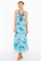 dress,zuri tie dye,cotton,sugar lips,maxi dress,blue,tie dye,criss cross back