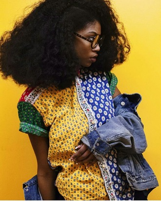 blouse 90s style cool laid back print afrocentric