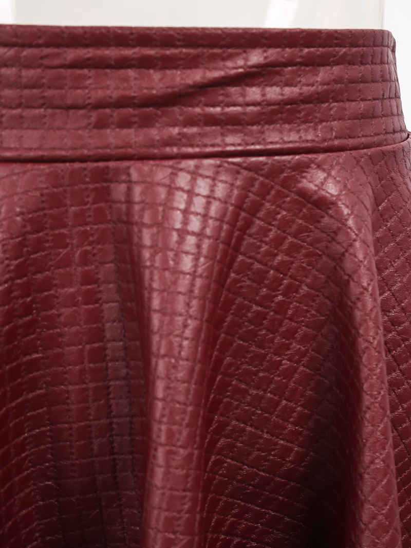 Red Elastic Waist Plaid Pleated Leather Skirt - Sheinside.com