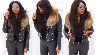 jacket leather jacket perfecto fur parka faux