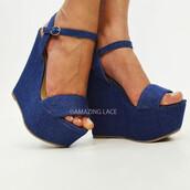 shoes,platform wedges,denim wedges,ankle strap,open toes,sandals,blue,spring,summer,wedge sandals,blue sandals
