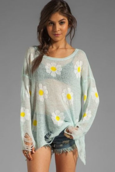 sweater grey top daisy daisie daisies top daisies