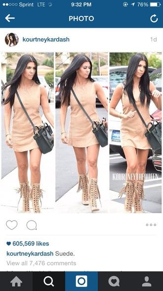dress kourntey kardashian beige dress