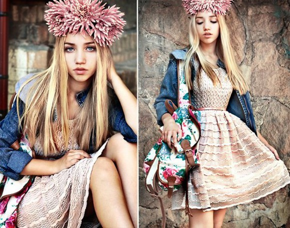 lace dress bag denim jacket floral backpack flower corwn self made flower crown aksinya air ukraine jacket