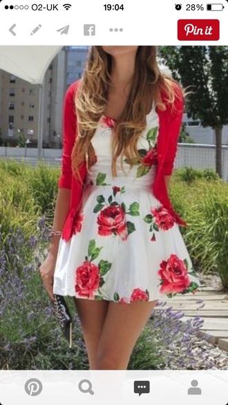 dress white dress roses floral dress style skater dress
