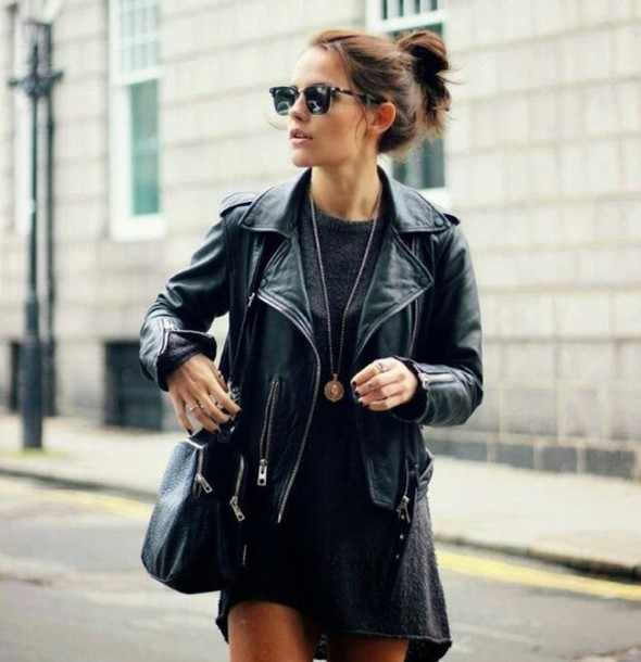 jacket dress leather jacket black black dress model streetstyle street bag black bag sunglasses wool necklace grey long sleeves grey dress t-shirt dress sweater dress style cute perfecto leather outfit classy idea all black everything black leather jacket