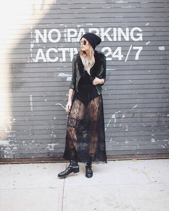 dress tumblr black dress maxi dress long dress black lace dress lace dress see through dress see through jacket fur collar jacket fur jacket black jacket leather jacket black leather jacket beanie black beanie sunglasses aviator sunglasses boots black boots flat boots combat boots