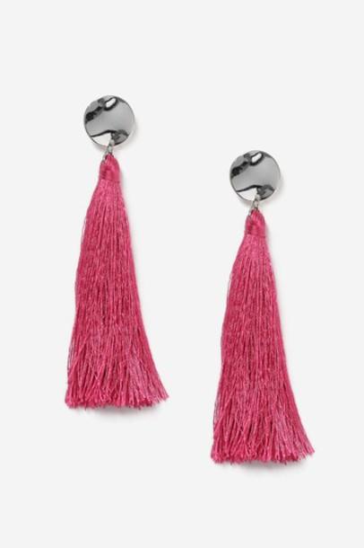 Topshop tassel earrings pink jewels