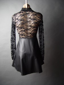 Black Sheer Lace Turtleneck High Neck Faux Leather Skirt Goth 06 mv Dress S M L