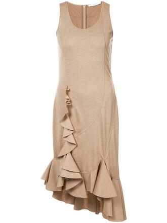 dress ruffle dress sleeveless ruffle women nude wool