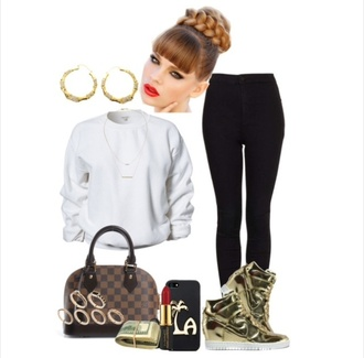 shoes nike sweatshirt louis vuitton jewels necklace ring hairstyles bag top outfit black jeans braid