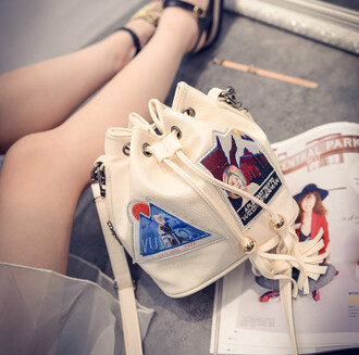 bag korean fashion iron patch white handbag white purse white shoulder bag bucket bag korean style mini bag shoulder bag mini shoulder bag mini purse