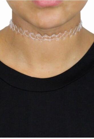 jewels clear chokers white chokers
