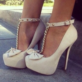 shoes studded shoes studs bows heels style fashion white white high heels chain