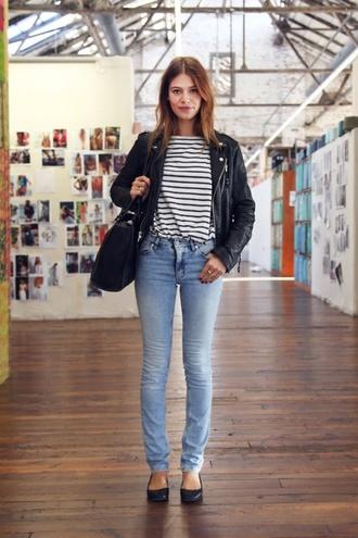 shirt rayure rayures black black and white stripes striped t-shirt jeans jacket bag