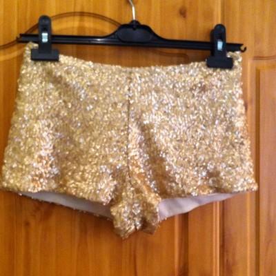 Boohoo Matte Gold Sequin Shorts/hotpants 8   eBay