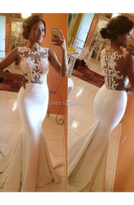 Delicated white mermaid applique elastic satin evening dress