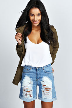 Loretta Roll Hem Distressed Boyfriend Denim Shorts at boohoo.com