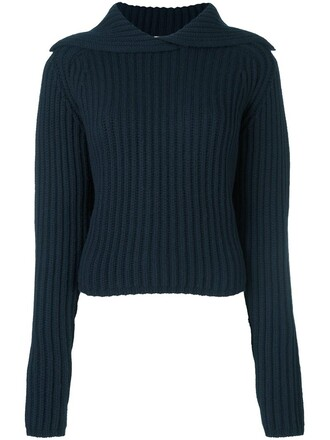 pullover knit blue sweater