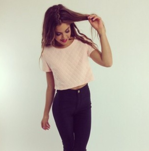 Jeans: crop tops, white quilted top, white, black, summer, lovely ...