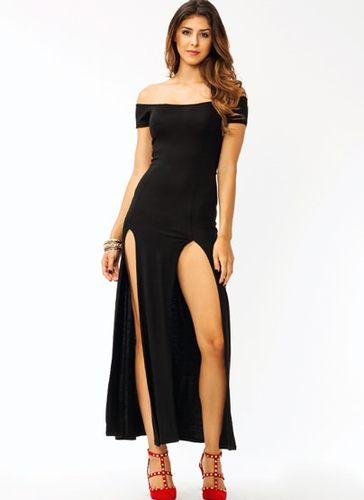 GJ | Sassy Double Slit Maxi Dress $28.00 in BLACK MOCHA NAVY RED WHITE - Maxi Dresses | GoJane.com