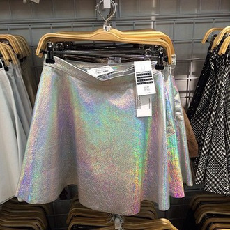 skirt instagram holographic style mini skirt hologram skirt holographic skirt metallic skirt skater skirt skater fashion metallic high waisted high waisted skirt pale grunge holografic flowy rainbow silver silver dress pretty cute cute dress cute outfits cute skirt weird iridescent