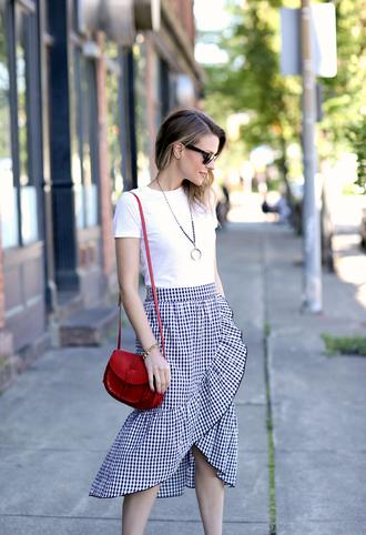 skirt tumblr gingham gingham skirt wrap ruffle skirt ruffle wrap skirt t-shirt white t-shirt bag red bag