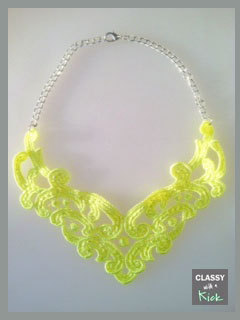 Neon Yellow Lace Bib Statement Necklace New by ClassywithaKick